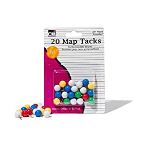 "Charles Leonard Map Tacks  - Tacks 3/8"" Head - 20/Card, 21238"