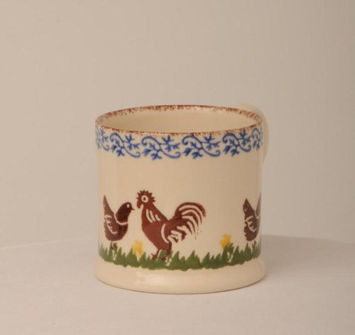 Brixton Pottery Cockerel And Hen 250ml Large Mug