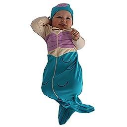 Sozo Baby-Girls Newborn Mermaid Bunting and Cap Set, Blue/Tan/Pink, 0-6 Months