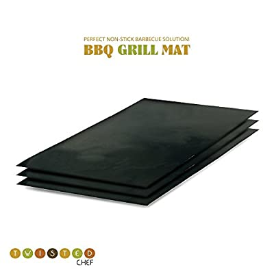 Grill Mats by Twisted Chef, Set of 3 Non-stick BBQ Grilling Sheets, 15.75 x 13 Inches