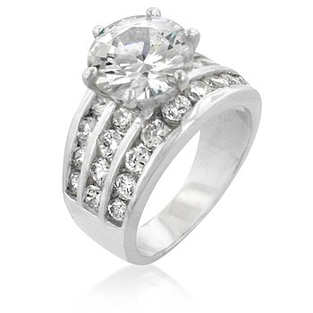 ENGAGEMENT RING - White Gold Rhodium Bonded CZ Ring Featuring 4 Row Channel Set Shoulders in Silvertone
