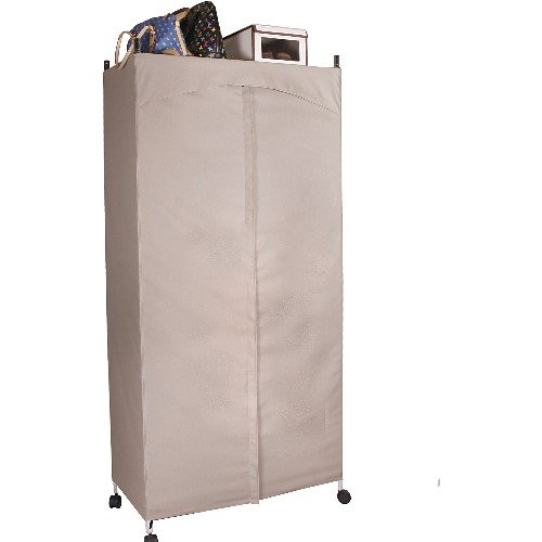 Wardrobe Portable Closet Premium Chrome w/ USA-Made Cover Khaki - Shop At Clares #WRD100-Kha