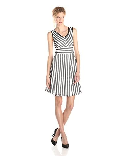Gabby Skye Women's Striped Fit-and-Flare Dress