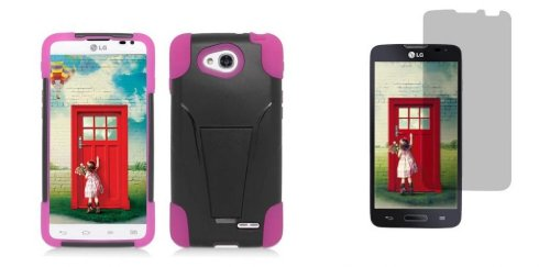 Lg Optimus L90 D415 (T-Mobile Version) - Black/Hot Pink Dual Layer Impact Defender Shockproof Armor Kickstand Case + Atom Led Keychain Light + Screen Protector