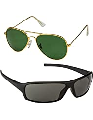 Unisex Uv Protected Combo Pack Of Aviator Sunglasses And Wrap Around Sunglasses ( Golden Green - Black Wrap )...