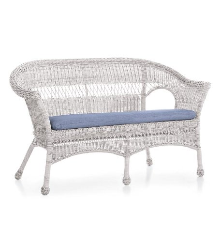 All-Weather Resin Outdoor Easy Care Wicker Love Seat, In White image