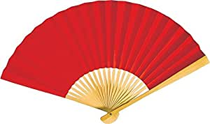 Luna Bazaar Handheld Folding Paper Fan (9-Inch, Red) - In the Style of Chinese, Japanese, Spanish Fans - For Personal Use, Weddings, and Events