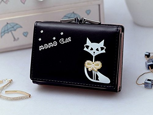 8d14826c9da Black [Cat With BowKnot] Womens Wallet Small Clutch Wallet Hand purse For Womens  Women's