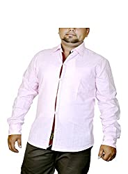 Routeen Men's Pink Slim Fit Shirt (SMRCTNLCD101S4_XS)