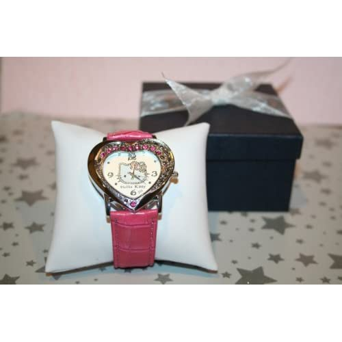 Hello Kitty Heart Shaped Quartz Wrist Watch in Hot Pink. Comes in Dark Blue Giftbox with the Watch Displayed on the Pillow with Ribbon.