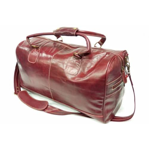 Large Red Burgundy Real Premium Leather Holdall Duffle Travel Sports Gym Luxury <strong>Designer Weekend Bag< strong>
