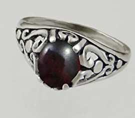 Sterling Silver Filigree Ring With a Genuine Bloodstone Made in America