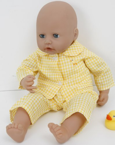 NEW FOR SPRING ! YELLOW CHECKED CHICK PYJAMAS FOR 18-20 INS DOLLS AND BEARS