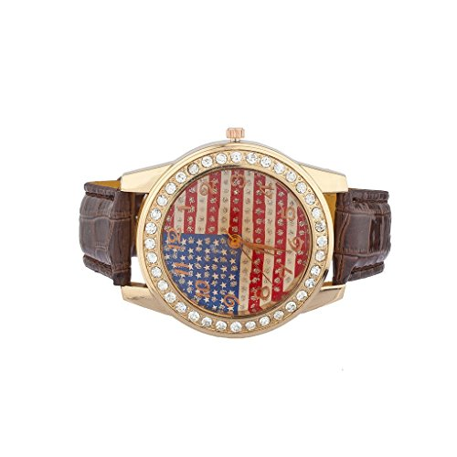 lux-accessories-bling-glitz-americana-american-flag-july-4th-watch-on-brown-band