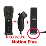 SHINNTTO(TM) 2 in 1 Motion Plus Built In WII Nintendo Remote Controller and Nunchuck + Silicone Case + Wrist Strap-Black
