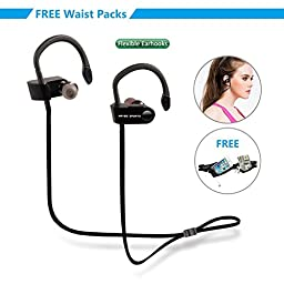 Wireless Headphones with Black Running Belt ,MAYBO SPORTS Sweatproof V4.1 Workout earbuds with Mic and Noise Cancelling-Black