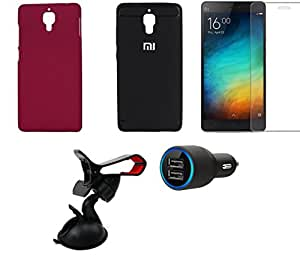 NIROSHA Tempered Glass Screen Guard Cover Case Car Charger Mobile Holder for Xiaomi Mi4 - Combo