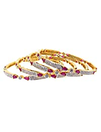 Aabhushan Jewels Ruby Look Gold Plated American Diamond Bangles For Women