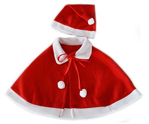 子供 サンタクロース 衣装 お手軽 2点セット ケープ & サンタ帽子 (Sサイズ)