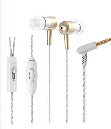 Langston ® Mediacom SmartPad 10.1 HD iPro111 / Mediacom SmartPad i10 3G Tablet Gold Geflochtene Metall In-Ear-Stereo High Definition Kopfhörer mit Mikrofon und Lautstärkeregler eingebaut