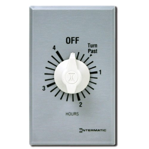 Intermatic Ff4H 4-Hour Spring Loaded Wall Timer, Brushed Metal
