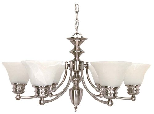 Nuvo Lighting 60/3195 Empire 6-Light Chandelier with Alabaster Glass Shade, Brushed Nickel