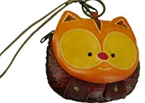 Real Leather Wristlet Change/Purse,wallet,a Fatty Cat Face Cover,Zipper Closure.
