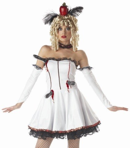 Tina The Target Knife Thrower Holiday Party Costume (White/Black;Large)