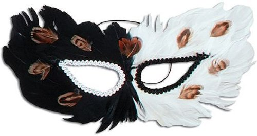 Feather Eye Mask. Black/White