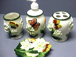 BUTTERFLY 3 D Bathroom Bath Set Butterflies *BRAND NEW*