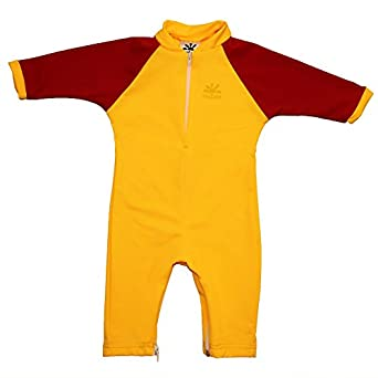 Fiji Sun Protective Baby Suit by Nozone in Buttercup/Red, 0-6 months