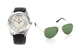 CANDID AVIATOR SUNGLASS WITH MENS ANALOG WATCH