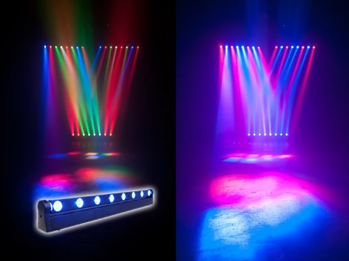 American Dj Sweeper Beam Quad Led Light Fixture - Quick Sweeping Narrow Beams Combined With An 8-Zone Led Chase