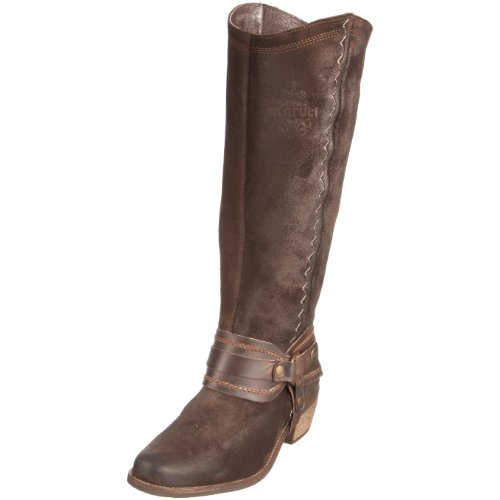 Maruti Women's Verginia Dark Brown Cowboy Boot Leather Suede 66.30117.1057 5.5 UK