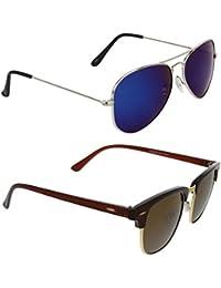 Magjons Fashion Combo Of Clubmaster Blue Mirror Aviator Sunglasses