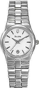 Women Bulova 96M102 Dress Stainless Steel Dress Watch White Dial