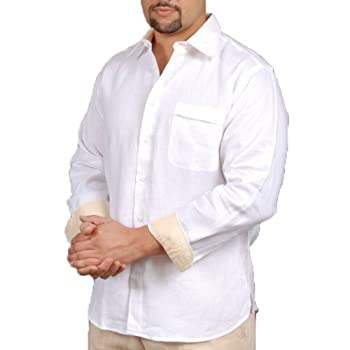 Linen long sleeve shirt with one pocket in white.