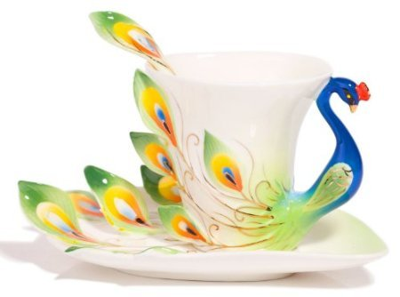 Hand Crafted Porcelain Enamel Graceful Peacock Pattern Tea Coffee Cup Set (With Saucer And Spoon) Gift