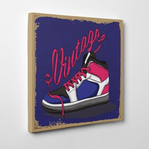 QUADRO MODERNO su Tela Canvas - Vintage Sneakers - Scarpe da Ginnastica Moda Fashion - 100x100m - Spessore 4cm