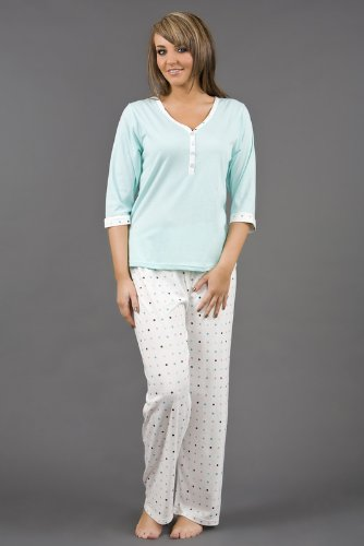 Womens Nightwear V Neck Buttoned Pyjama Suit Polyester Cotton Various Sizes & Colours