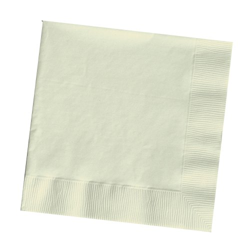 Creative Converting Touch of Color 2-Ply 50 Count Paper Beverage Napkins, Ivory
