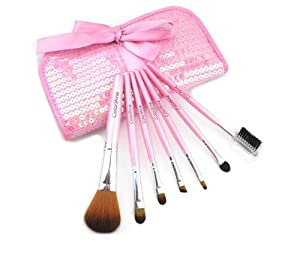 Professional 7-Piece Natural Goat and Badger Cosmetic Brush Set with Pouch