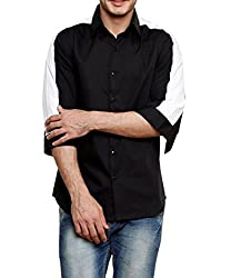 Dazzio Men's Slim Fit Cotton Casual Shirt (DZSH0904_Black_42)