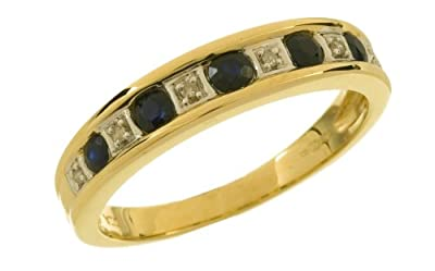Ariel 9ct Yellow Gold Ladies Diamond and Sapphire Ring
