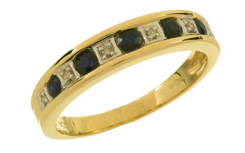 Eternity Ring, 9ct Yellow Gold Diamond and Sapphire Ring, Channel Set
