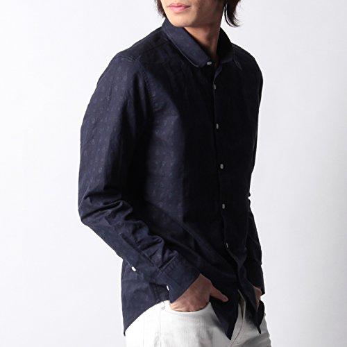 (ボイコット)BOYCOTT 小紋柄デザインシャツ ネイビー(193) 04(LL)