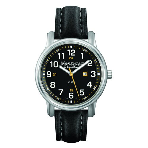 Venturer Sports Watch by WatchBuddy - Space Black Dial with Black Leather Strap - Child's Size