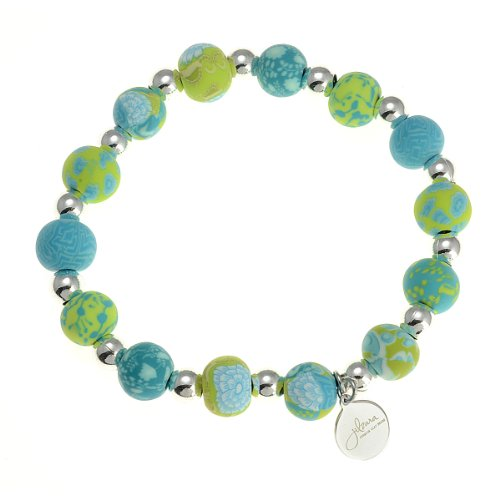 Girls Size Premium Silverball Lime Green Clay Bead Stretch Bangle Bracelet