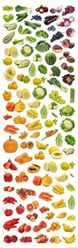 Cuisine Poster Adhesive Wall Stripe Wallpaper - Rainbow Collection Of Fruit And Vegetables (98 X 31 Inches) front-436660