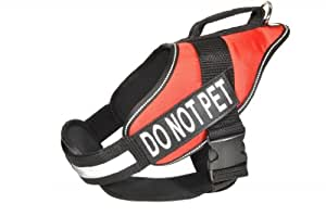 Dogline Alpha Nylon Service Vest Harness with Removable Chestplate and Do Not Pet Velcro Patches, Large, Chest Size 28 to 38-Inch, Red